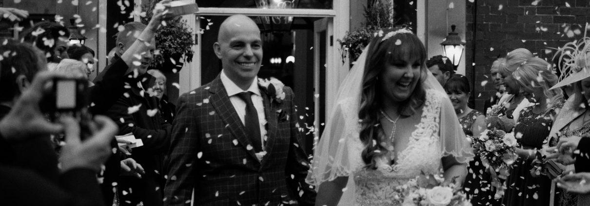 Bartle Hall Wedding Video confetti shot